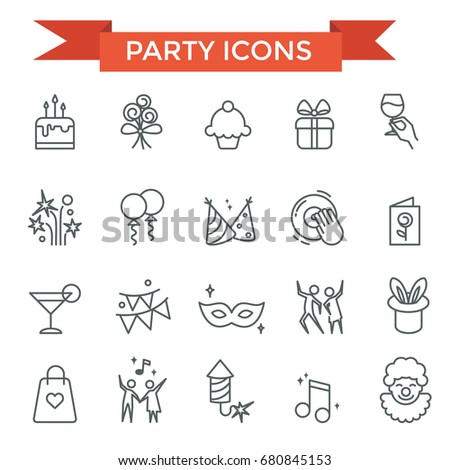 Party celebrate, happy birthday icons, thin line design