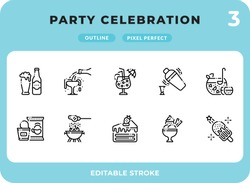 Party Celebration Dashed Outline Icons Pack for UI. Editable Stroke. Pixel perfect thin line vector icon set for web design and website application.