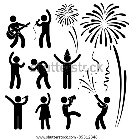 Party Celebration Event Festival People Nightlife Joyful Karaoke Singing Dancing Firework Icon Sign Symbol Pictogram