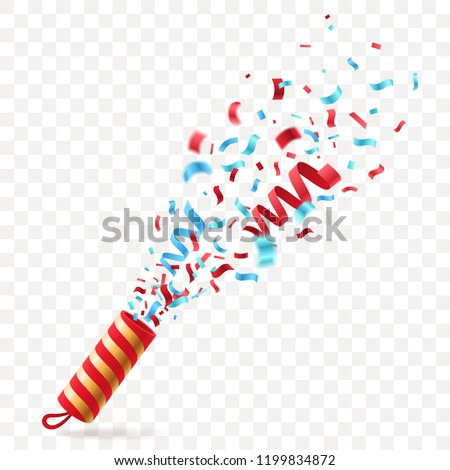 Party cracker with colorful Confetti. Exploding festive Popper isolated on transparent background. The element of celebrating a new year, birthday, anniversary. Vector illustration.