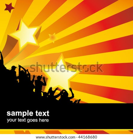party crowd poster - stock vector