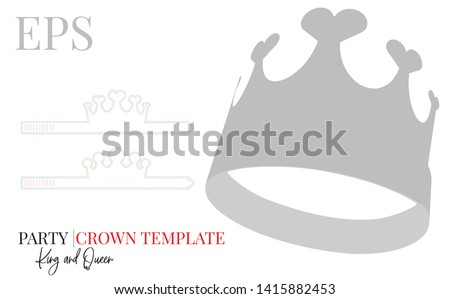 Party Crown template, vector with die cut / laser cut lines. White, clear, blank, isolated Party Crown mock up on white background with perspective view. Birthday Crown, Princess Crown, self lock