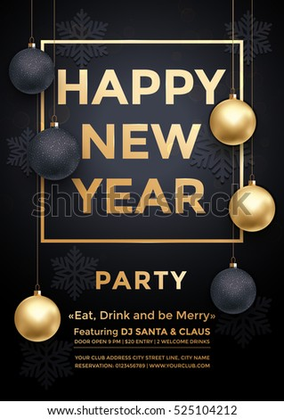 party december new year winter holiday club invitation poster premium calligraphy lettering with gold ornament decoration of golden ball and gold snowflake