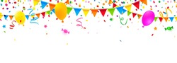 party decoration scenery with colorful confetti, streamers, balloons and candy