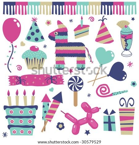 party decorations, balloons, gifts, cakes and pinata in pink and blue - stock vector