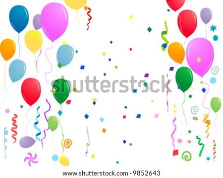 clip art balloons and confetti. alloons, confetti,