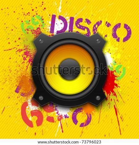 Party design element with speaker. Vectorillustration