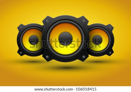 Party design element with speakers . Vector illustration