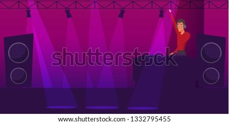 Party, disco flat vector illustration. Nightclub DJ cartoon character. Night club interior background for text and design. Lighting, music equipment. Holiday invitation, poster, banner backdrop