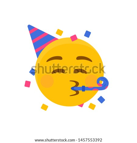 Party emoji. Happy face with birthday hat and confetti. Vector