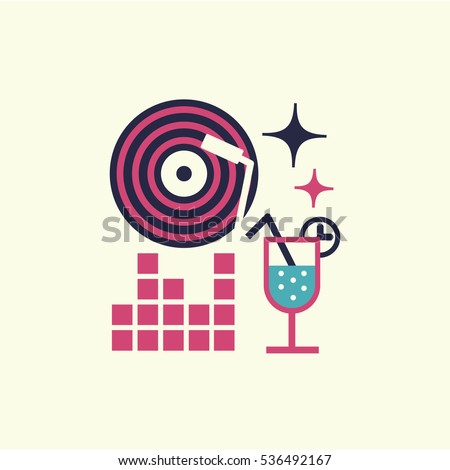 Party event icon. Thin line and flat icon of event and special occasions organization, catering service agency, marketing agency. Flat design graphic event marketing concept, website elements.