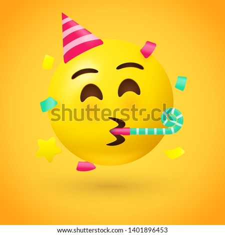 Party face emoji - yellow face with a party hat blowing a party horn as confetti floats around its head - used for celebrating joyous occasions and enjoying good times