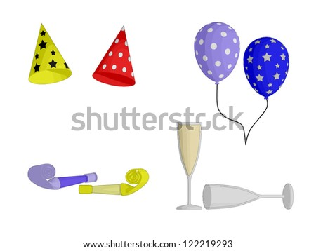 Party Favors - hats, balloons, horns and Champagne glasses
