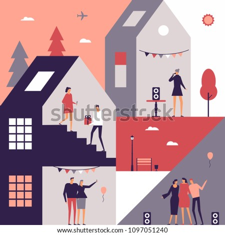 Party - flat design style conceptual illustration. Happy cartoon characters sharing presents, making selfie, dancing, singing, hugging. Colorful composition with house, trees, lantern. bench, balloons