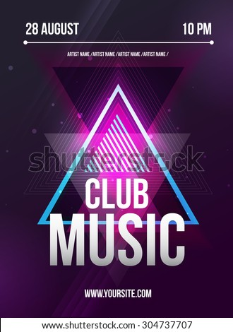 Party Flyer. Club music flyer. DJ lineup design. Vector template.