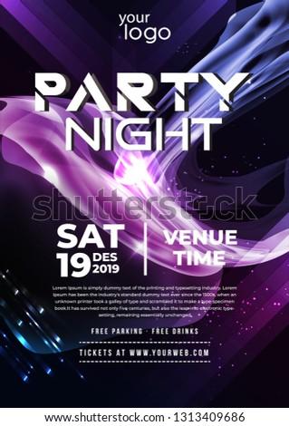 Party Flyer Poster Futuristic Club Flyer Design Template Dj