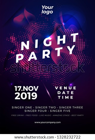 party flyer poster. Futuristic club flyer design template. DJ advertising, digital creative club entertainment. - Vector