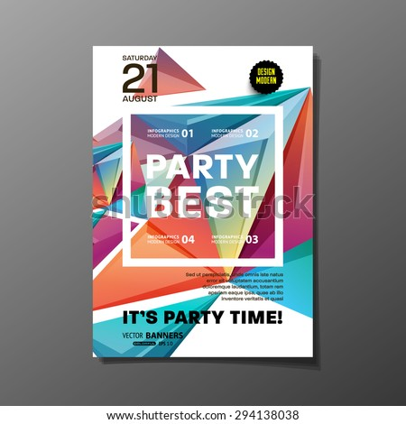 Party Flyer Template. Vector Design. Abstract Geometric Background. #294138038