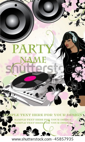 Party flyer with floral elements and a Girl-Dj. Vector illustration.