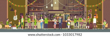 Party For St. Patricks Day In Irish Pub Or Bar With Group Of People Wearing Green Clothes And Drinking Beer Flat Vector Illustration