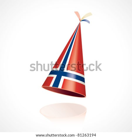 Party hat with the flag from Norway - stock vector