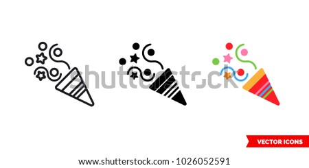 Party icon of 3 types: color, black and white, outline. Isolated vector sign symbol.
