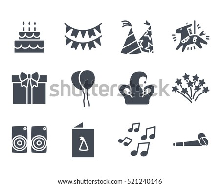 Party Icon Solid Glyph Pack Set silhouette