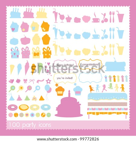 party icons for birthday, celebration, kids and others