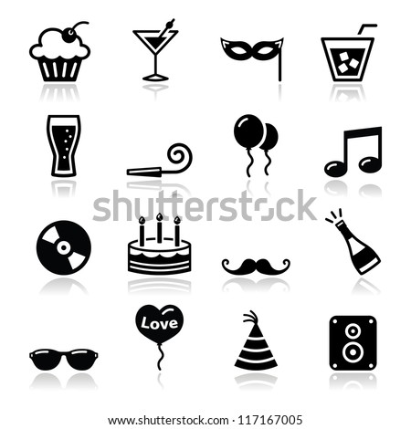 party icons set   birthday  new