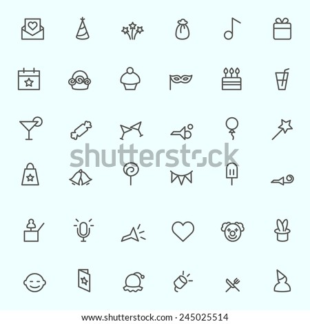 Party icons, simple and thin line design