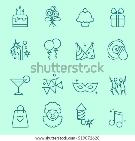 party icons  thin line  flat