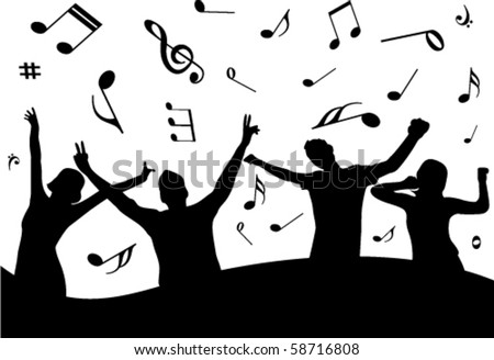 Party illustration with some people and music notes