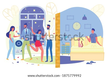 Party in Apartment Disturbs Neighbors, Slide. Two Apartments Separated by Wall. In One Party Guests Music, in another Person in Bed Sits Dumbfounded - Late at Night on Clock, Cartoon.