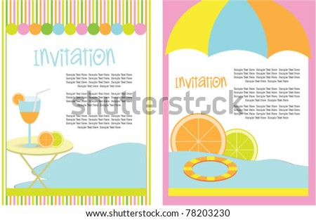 party invitation card set - stock vector