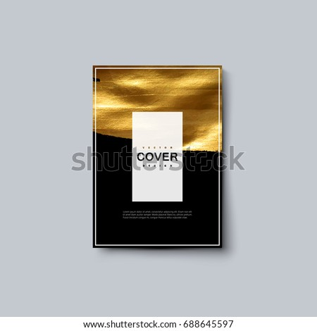 Party invitation cover with golden paint texture. Vector creative illustration. Luxury black background with golden stain. Booklet, invitation, postcard, banner design template. A4 paper size