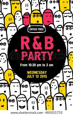 Party Invitation Flyer Design Template. Vector Illustration