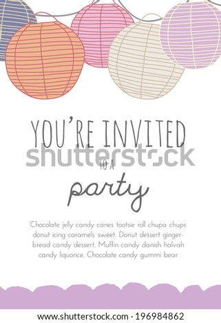 Party Invitation With Paper Lanterns Paper Lantern Invitations Round Paper Lanterns Party Invitation Vector Party Invitation