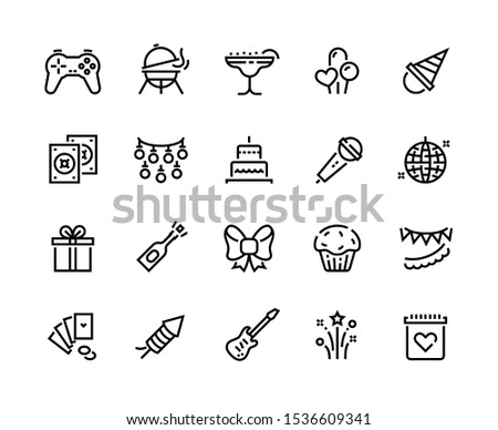 Party line icons. Birthday celebration with gift balloons BBQ music and fireworks, celebration with food and cocktails. Vector set thin signs illustration happy event with entertainment