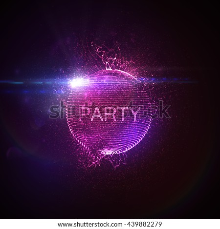 Stock Photo Party neon sign. 3D illuminated distorted sphere of glowing particles, wireframe, splashes and lens flare light effect. Music party. Vector illustration. Disco ball.