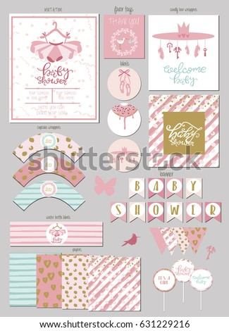 Party Package for baby shower with gift tags, invitation card, banner, wrappers for cupcake and bottle. Vector illustration