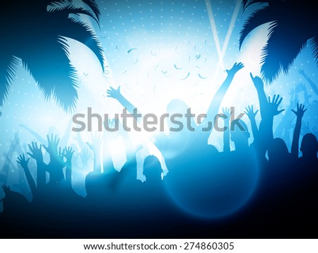 party people on beach   vector