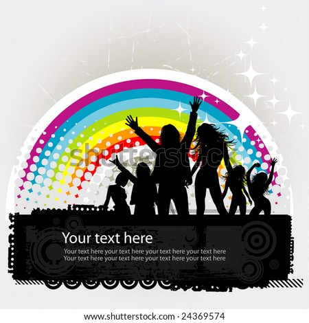 Party peoples against a rainbow, audience cheering success vector background