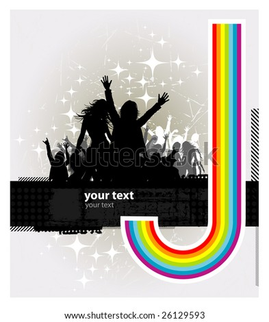 Party peoples against a rainbow, audience cheering success vector background 2