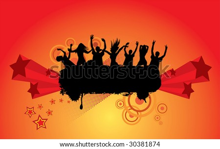 Party peoples audience cheering success vector background