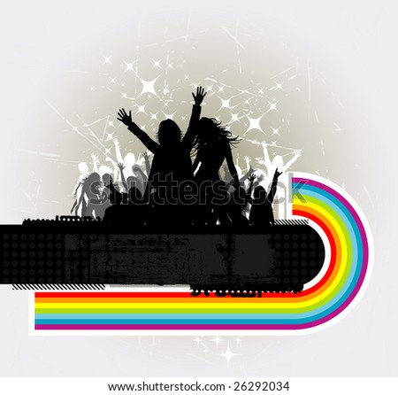 Party peoples, audience cheering success with rainbow vector background