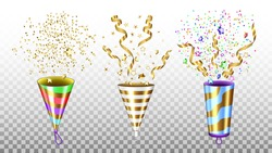 Party Popper Exploding Accessories Set Vector. Party Popper Happy Birthday Or New Year Festival Celebrative Ceremony Equipment With Confetti. Ceremony Tool Template Realistic 3d Illustrations