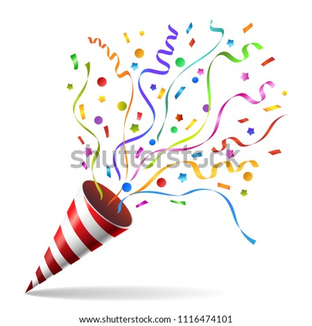 Party popper. Pulling cracker isolated on white background, confetti and streamers pulled party blower for celebration party vector illustration