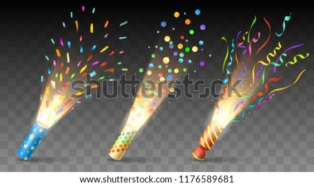 Party poppers. Confetti exploding vector, parties popper set isolated on transparent for festive, birthday or xmas celebration decor