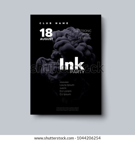 Party poster design. Vector illustration. Cover template with realistic black ink splash swirling in the water. Fluid color shape. Liquid background. Club invitation template. Modern design