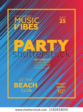 Party poster for night club. Template of invitation for summer party. Modern marble flyer design. Trance, Deep house, electronic, silent party. Eps10 vector template.